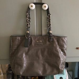 Coach Grey Patent Leather Tote Bag
